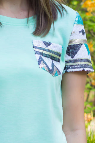 Aztec Glimmer Short Sleeve - Mint