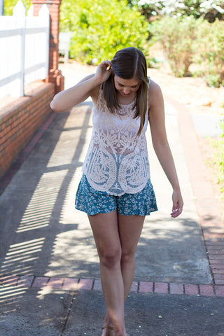 Wildflower Dreams Shorts - Teal