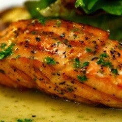 Seared Salmon with Sun-dried Tomato Butter, Roasted Garlic Mashed Potatoes & Creamed Spinach (GF)