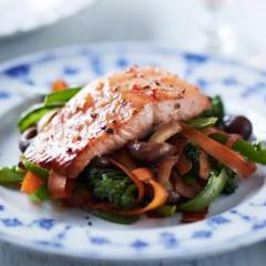 Asian Salmon over Stir Fried Vegetables (GF,DF)