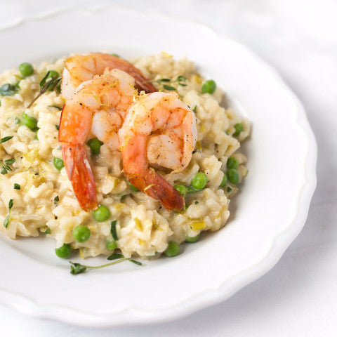 Herb Roasted Shrimp with Spring Pea and Parmesan Risotto (GF) - Tastefully Served