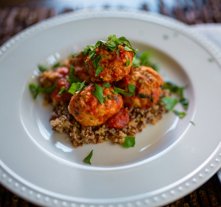 Turkey Meatballs in Tomato Basil Sauce over Quinoa (GF)