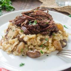 Braised Beef over Mushroom and Spinach Risotto