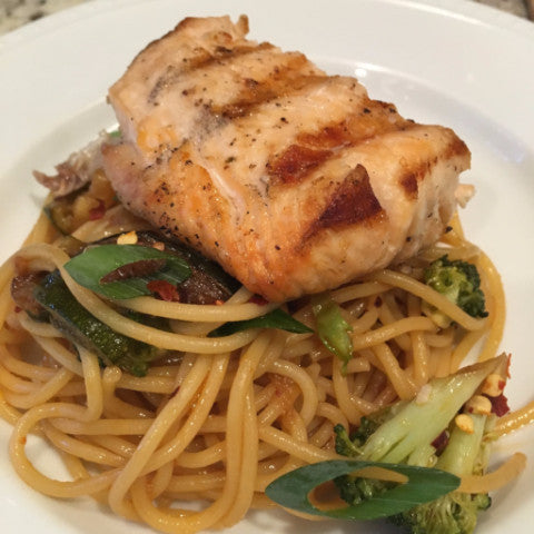 Asian Grilled Salmon over Sesame Noodles and Stir-Fried Vegetables (DF) - Tastefully Served