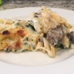 Mushroom, Spinach and Caramelized Onion Baked Pasta (V) - Tastefully Served