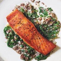 Burn Salmon with Sun Dried Tomatoes, Quinoa and Sautéed Spinach (GF)