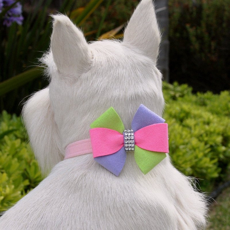 "Madison Bow Dog Collar 1/2"" wide by Susan Lanci Puppy's Home"