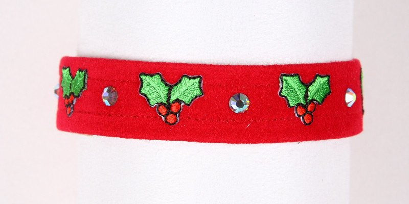 "Holly Holiday Dog Collar 5/8"" by Susan Lanci Puppy's Home"