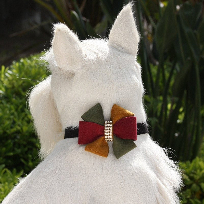 "Autumn Bow Dog Collar 1/2"" wide by Susan Lanci Puppy's Home"