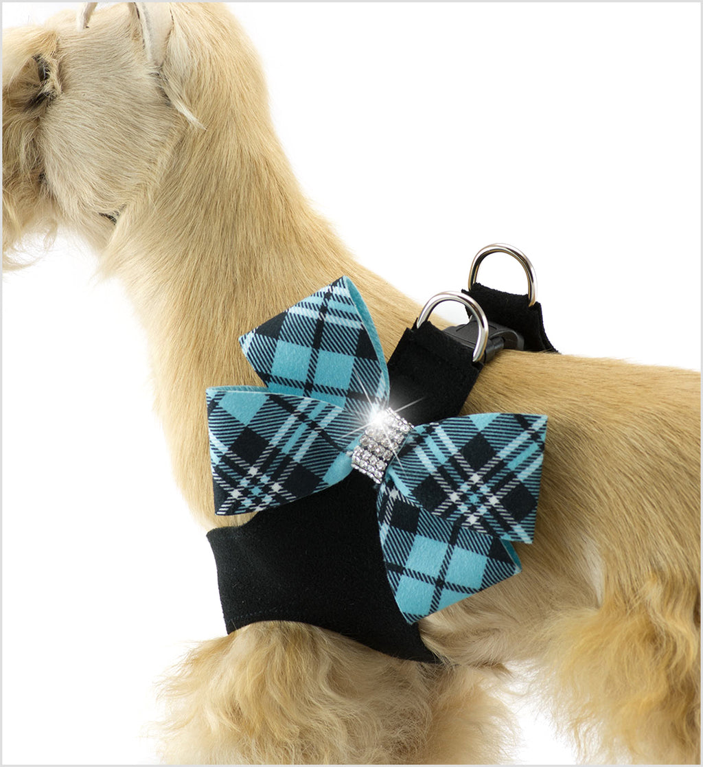 Tiffi Plaid Nouveau Bow on Black Step-In Dog Harness by Susan Lanci