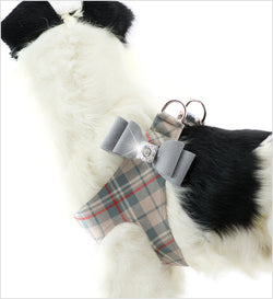 Platinum Big Bow on Doe Plaid Step-In Dog Harness by Susan Lanci