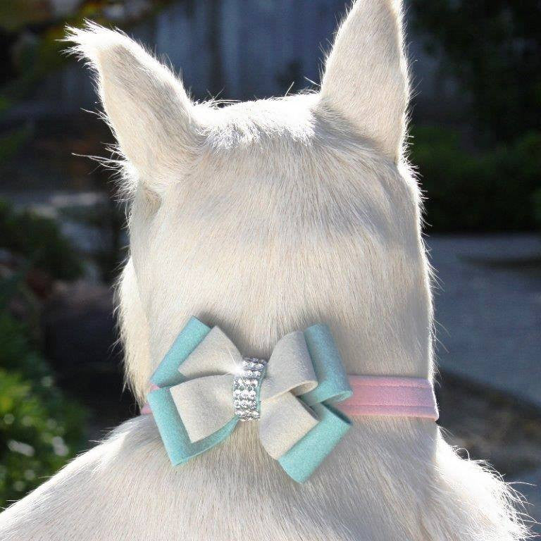 "Hope Double Bow Dog Collar 1/2"" wide by Susan Lanci Puppy's Home"