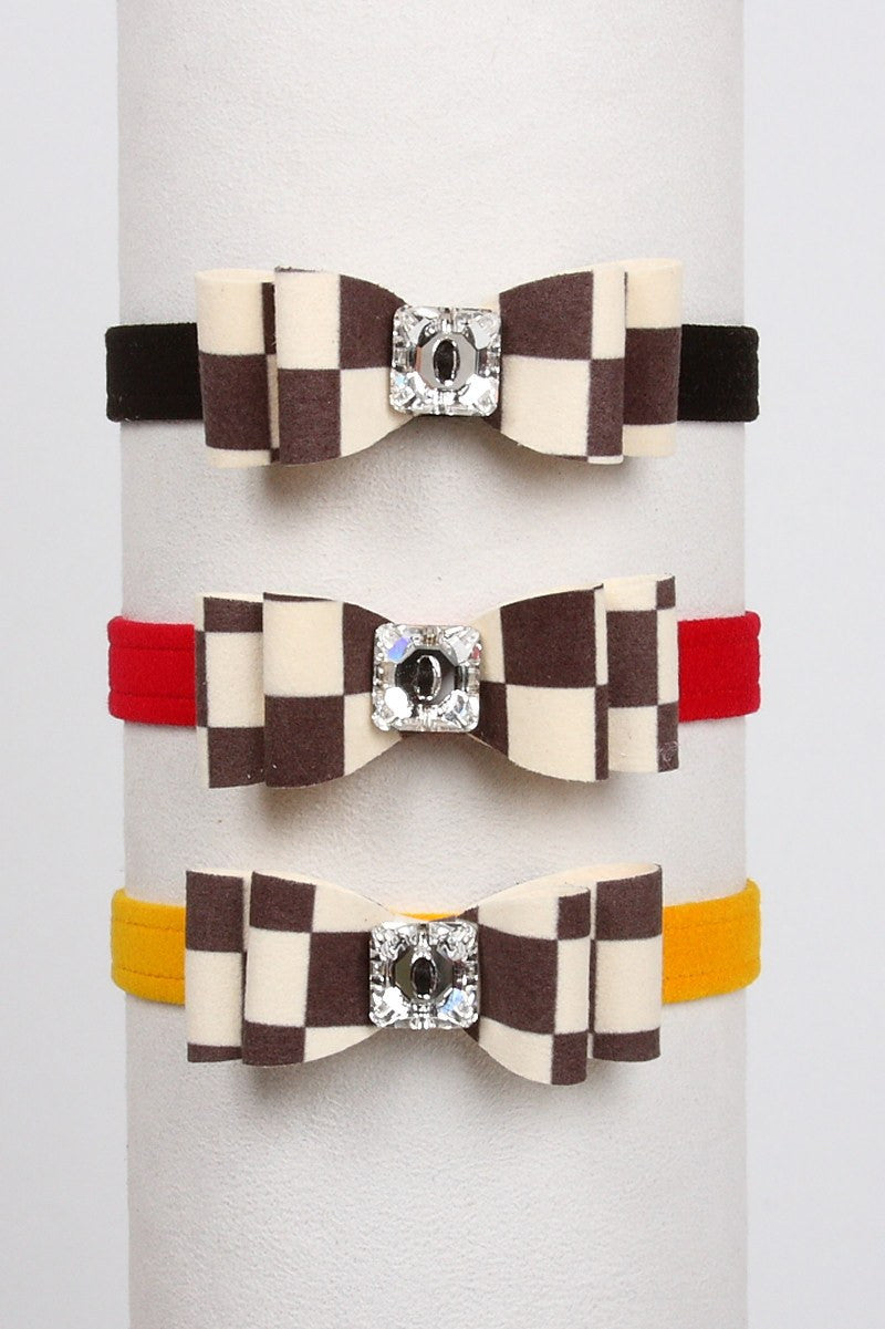 Windsor Check Really Big Bow Dog Collar Puppy's Home