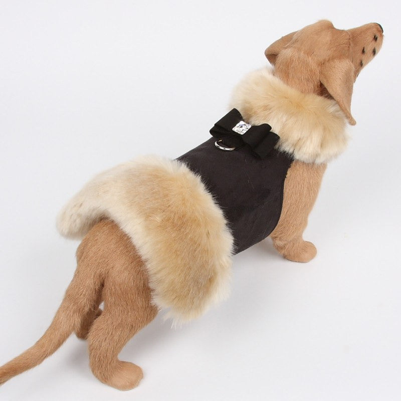 Big Bow Black Fur Coat Harness by Susan Lanci Puppy's Home