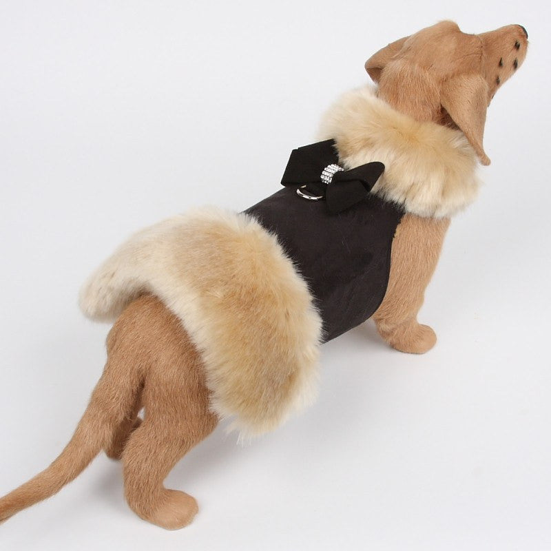 Nouveau Bow Black Fur Coat Harness by Susan Lanci Puppy's Home