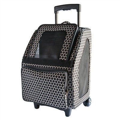 Rio Bag on Wheels Dog Carrier - Reverse Noir Dot Puppy's Home