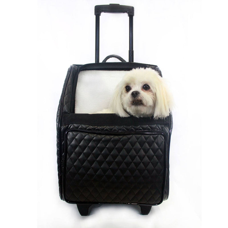 Quilted Luxe Rio Bag on Wheels Dog Carrier - Black Puppy's Home