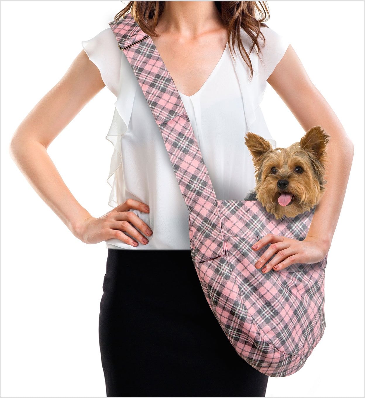 SUSAN LANCI SCOTTY PUPPY PINK PLAID CUDDLE CARRIER