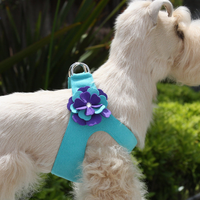 Violet Flowers Swarovski Crystal Step-In Dog Harness by Susan Lanci Puppy's Home