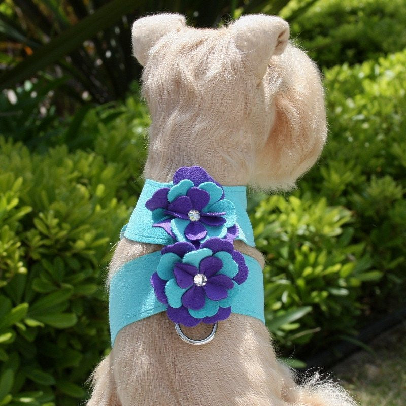 Violet Flowers Swarovski Tinkie Dog Harness by Susan Lanci Puppy's Home