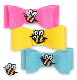 Bees in the Garden Dog Hair Bow by Susan Lanci Puppy's Home