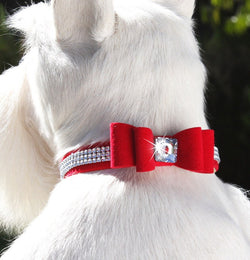 "The Really Big Bow Swarovski Crystal 3-Row Giltmore Dog Collar - 5/8"" by Susan Lanci Puppy's Home"