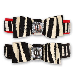 "Big Bow Zebra Contrasting Trim Dog Collar 5/8"" by Susan Lanci Puppy's Home"