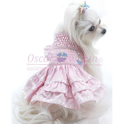 Birthday Cupcake Hand-Smocked Dog Dress by Oscar Newman Puppy's Home