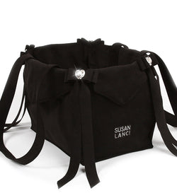 Black Tail Bow Heart Luxury Dog Carrier by Susan Lanci Puppy's Home
