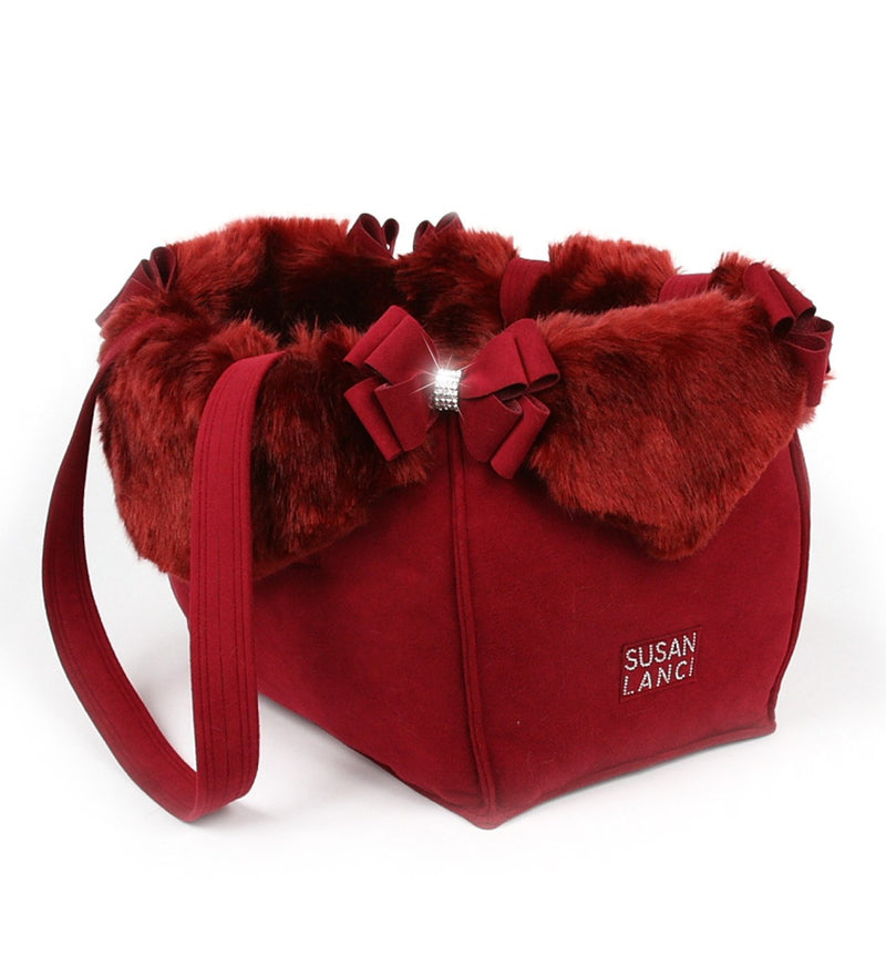 Burgundy Fur Double Nouveau Bow Luxury Dog Carrier by Susan Lanci Puppy's Home