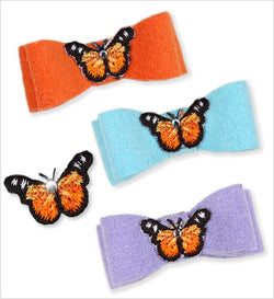Butterflies Ultrasuede Dog Hair Bow by Susan Lanci Puppy's Home