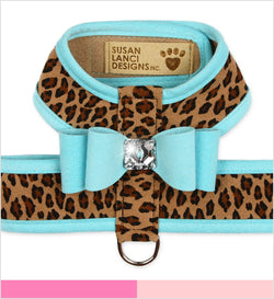 Big Bow Tinkie Dog Harness Cheetah with Trim by Susan Lanci Puppy's Home