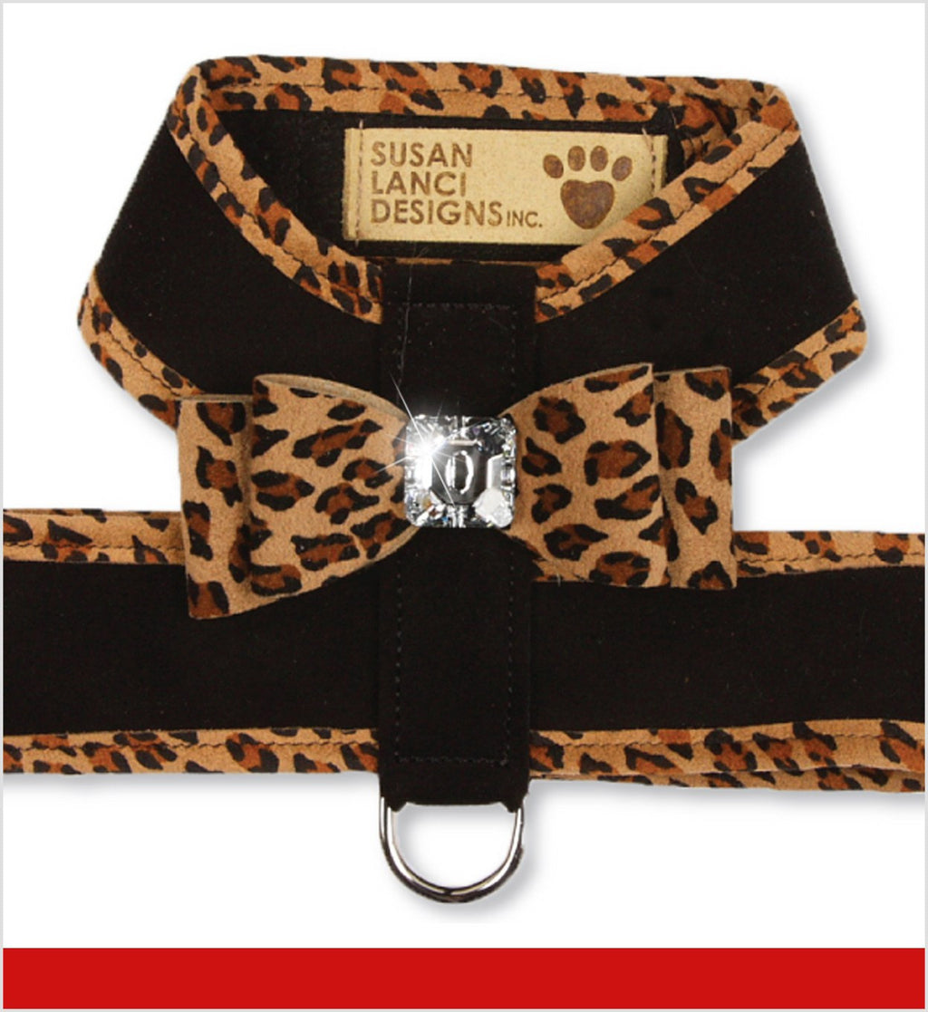 Big Bow Tinkie Dog Harness with Cheetah Trim by Susan Lanci Puppy's Home