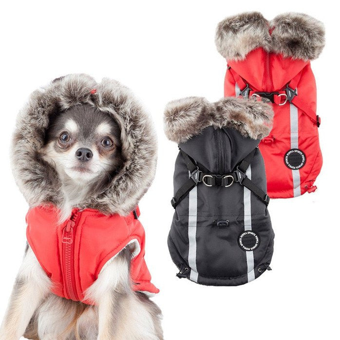 Clark Fur Hood Dog Jacket with Harness Puppy's Home