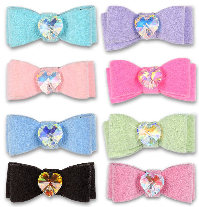 Ultrasuede Heart Crystal Swarovski Dog Hair Bow by Susan Lanci Puppy's Home