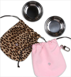 Ultrasuede Travel Pouch with Bowls by Susan Lanci Puppy's Home