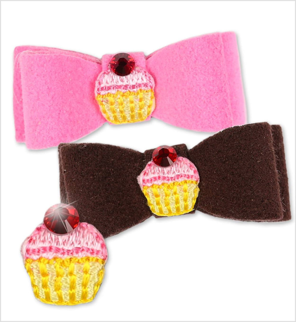 Cupcake Swarovski Crystal Dog Hair Bow by Susan Lanci Puppy's Home