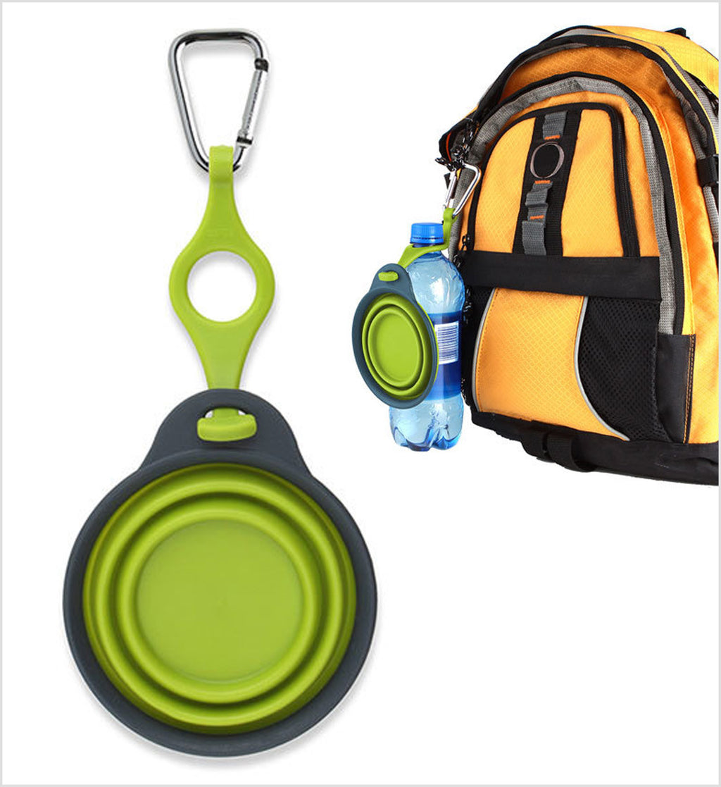 Dexas Green Collapsible Travel Cup with Bottle Holder