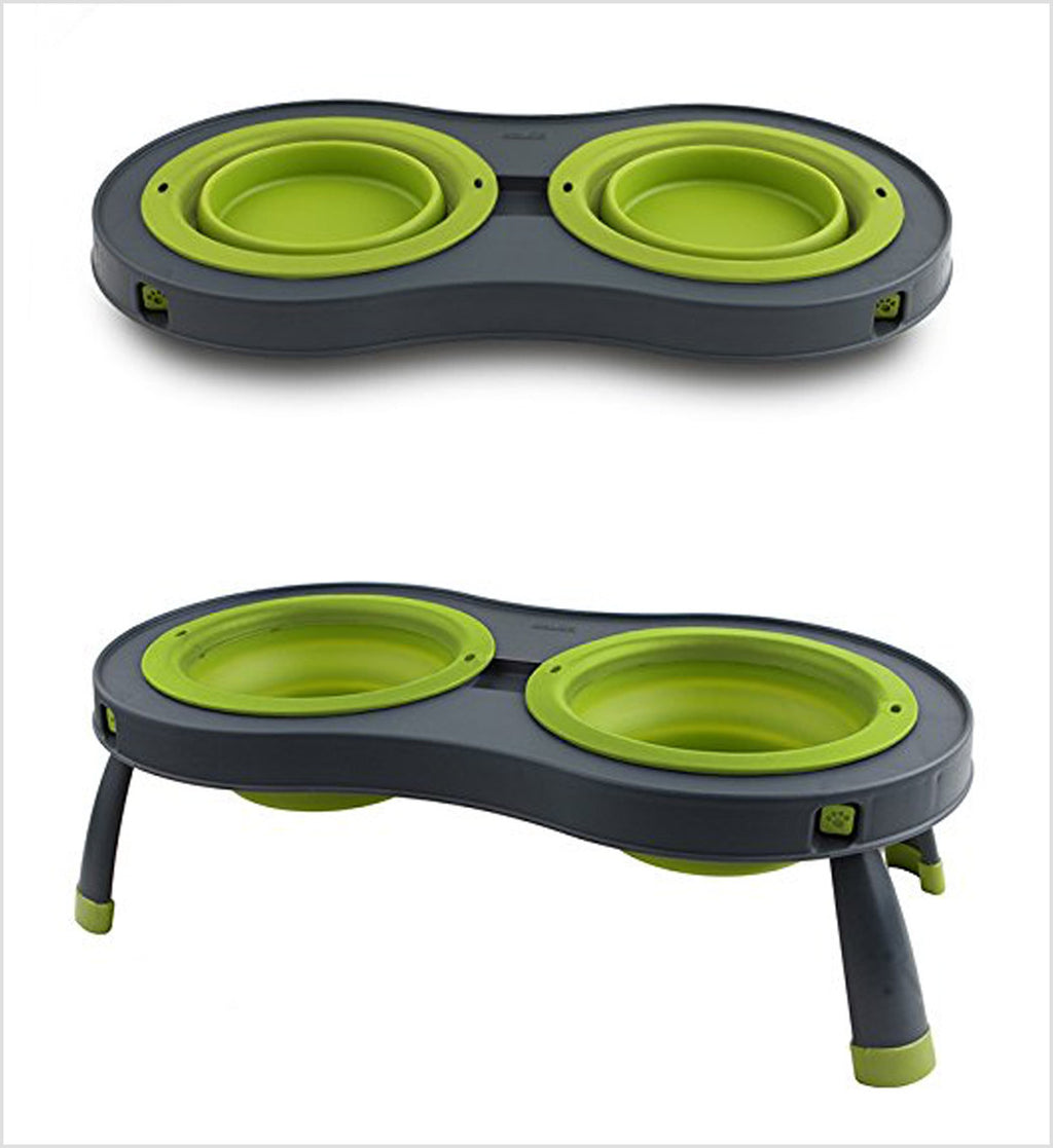 Dexas Green Collapsible Pet Feeder for Travel