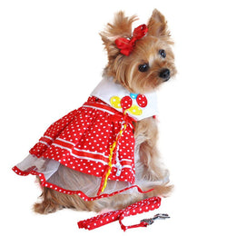 Polka Dot Balloon Designer Dog Dress with Leash Puppy's Home