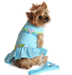 Turquoise Gingham Flower Designer Dog Dress with Leash Puppy's Home