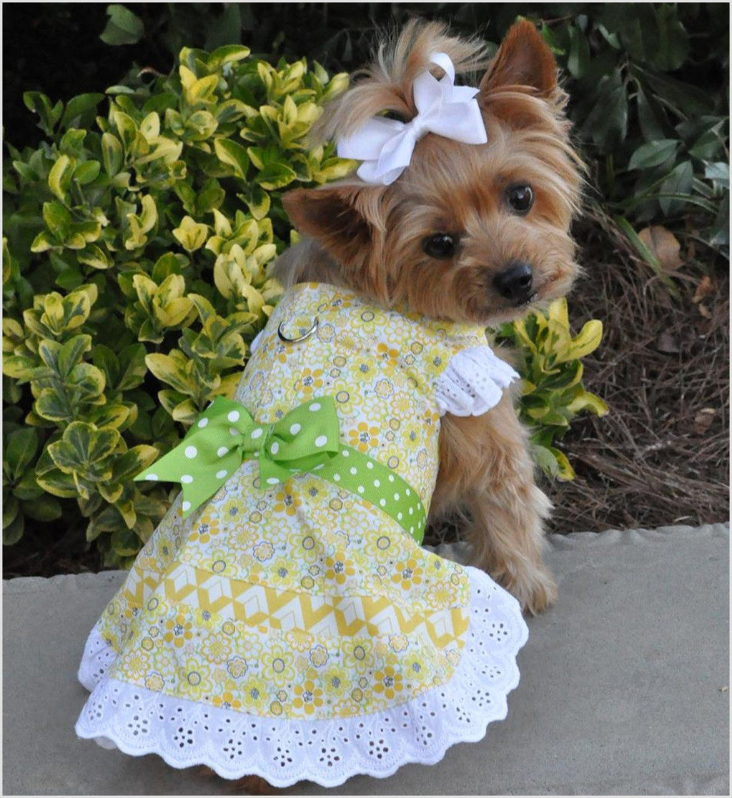 Emily Yellow Floral and Lace Designer Dog Dress with Leash Puppy's Home