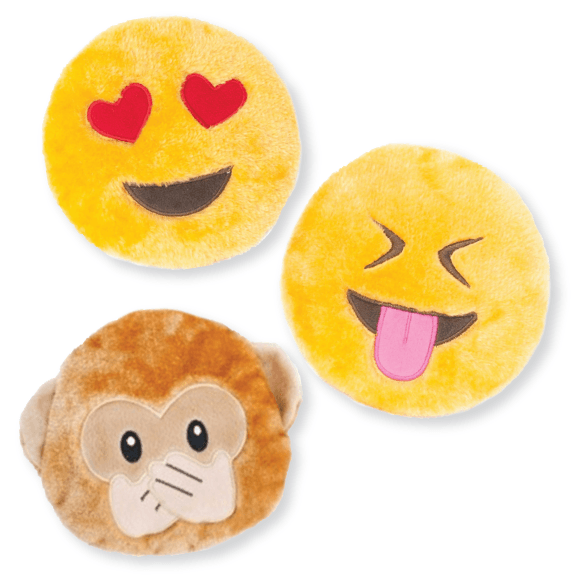 "Emoji Faces Squeaky Plush Toy- 7"" Puppy's Home"