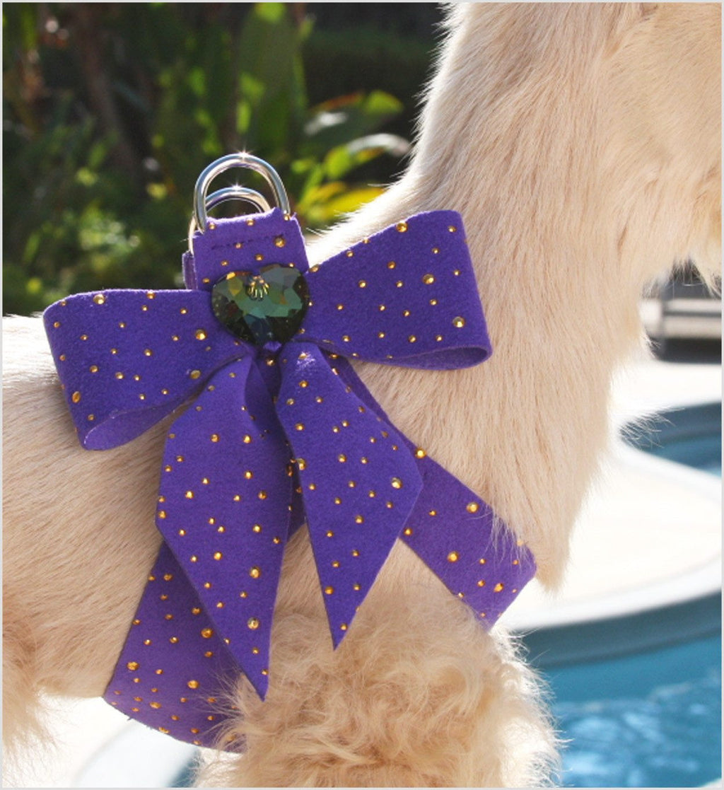 Gold Dust Tail Bow Heart Swarovski Crystal Step In Dog Harness by Susan Lanci Puppy's Home