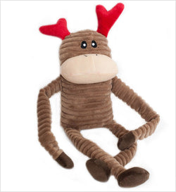 Holiday Crinkle Reindeer Squeaky Dog Toy Puppy's Home