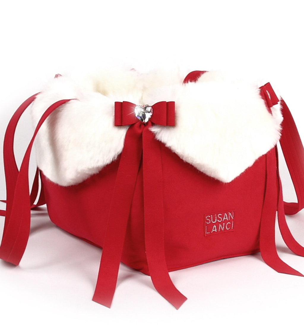 Holiday Tail Bow Heart Luxury Dog Carrier by Susan Lanci Puppy's Home