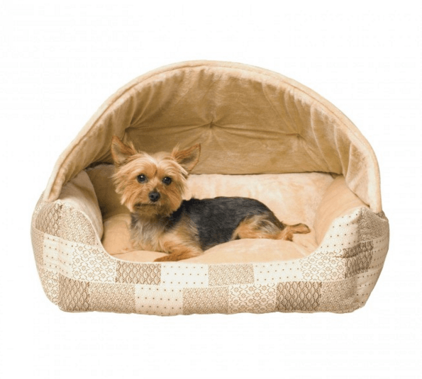 Hooded Lounge Sleeper Dog Bed- Tan Print Puppy's Home