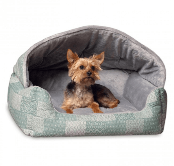 Hooded Lounge Sleeper Dog Bed- Teal Print Puppy's Home