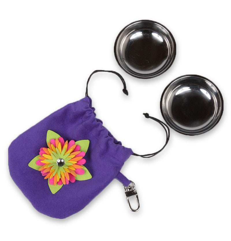 Island Flower Swarovski Travel Pouch with Travel Bowls Puppy's Home