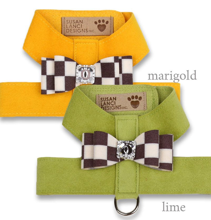 Windsor Check Big Bow Tinkie Harness by Susan Lanci Puppy's Home